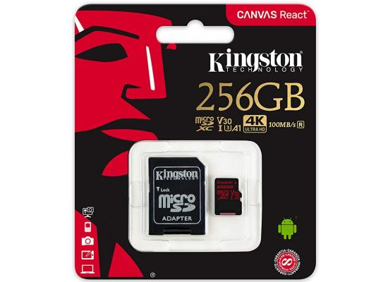 Kingston Canvas React 256GB CL10 UHS-I U3 Micro SDXC