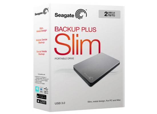 SEAGATE BackupPlus Slim Portable HDD - 2TB, Silver