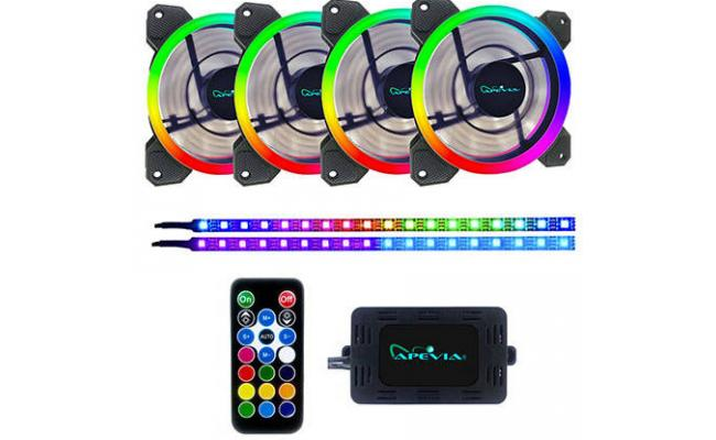 Apevia SP412 Spectra 4x RGB Fan + 2 Magnetic LED Strips