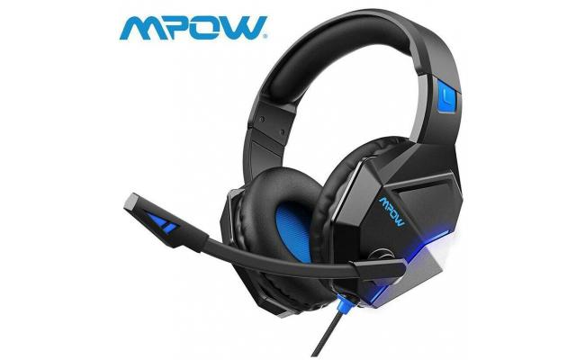 Mpow EG10 Wired Headset w/Noise Canceling For PC PS4 Xbox Switch , Black / Blue