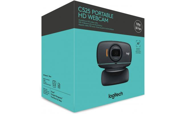 Logitech C525 Portable HD 720p Video Calling with Autofocus - Black