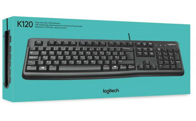 Logitech K120 USB Keyboard Spill-Resistant with Quiet Typing