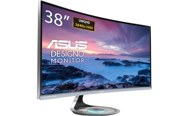 """ASUS Designo Curve MX38VC 38"""" IPS 4K Eye Care with Qi Charging"""