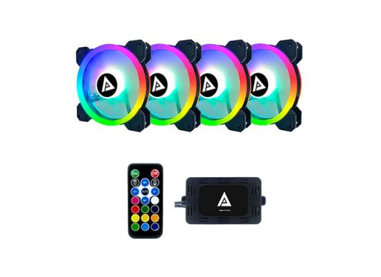 Apevia TL412 TWILIGHT 4x Silent Dual Ring Addressable RGB Color Fan.