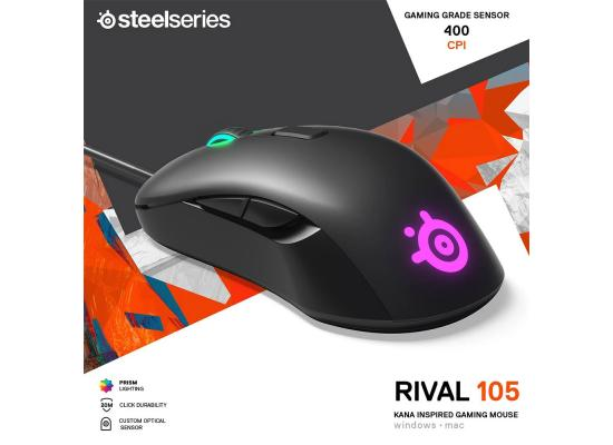 SteelSeries Rival 105 4,200 CPI Prism Lightning, RGB Mouse – Black
