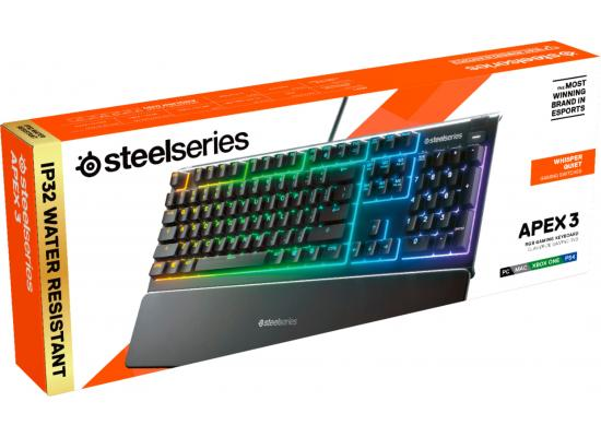 SteelSeries Apex 3 RGB 10-Zone Whisper Quiet Gaming Switch Wrist Rest