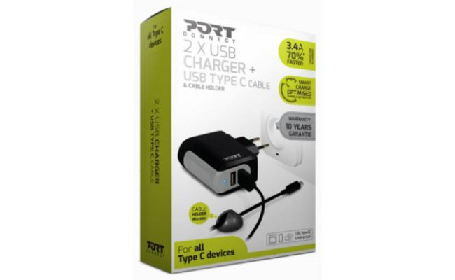 Port Designs 900014 Indoor Mobile Device Charger 2 USB