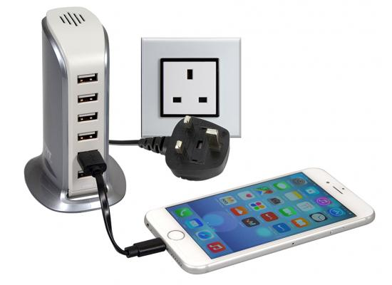Port Designs 202083 Wall Charger Tower 6 USB - UK