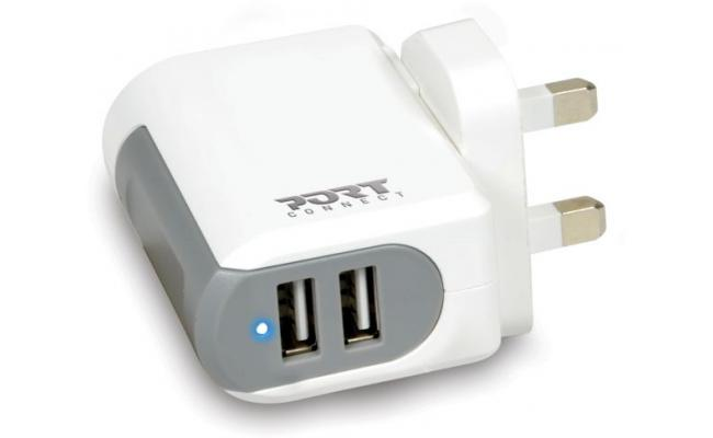 Port Designs 900020 Indoor White Mobile Charger 2 USB - UK