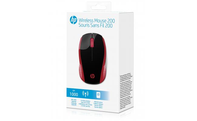 HP 200 Wireless Mouse Red USB Optical
