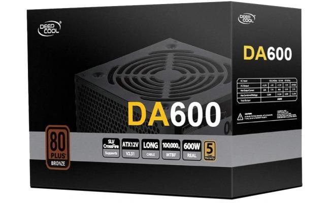 DeepCool DA600 600W 80+ Bronze ATX Power Supply Black