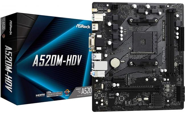 ASRock A520M-HDV AMD A520 M.2 Micro ATX AMD Motherboard