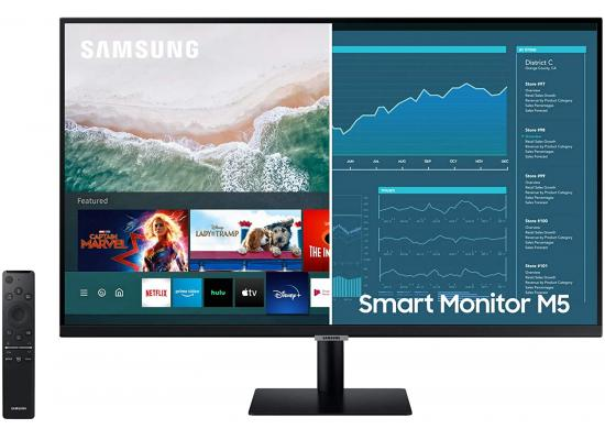 "SAMSUNG 27"" M5 Smart Do-It-All Screen Mobile Connectivity"