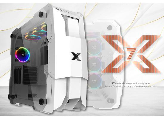 Xigmatek X7 Super Tower Support up to 480mm GPU RGB Tempered Glass - White