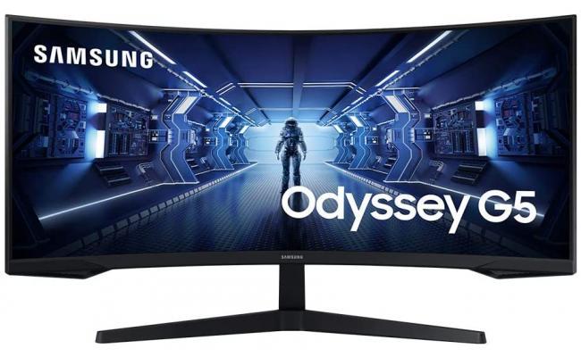 "SAMSUNG 34"" Odyssey G5 UWQHD HDR 165hz 1000R Curved Ultra Wide"