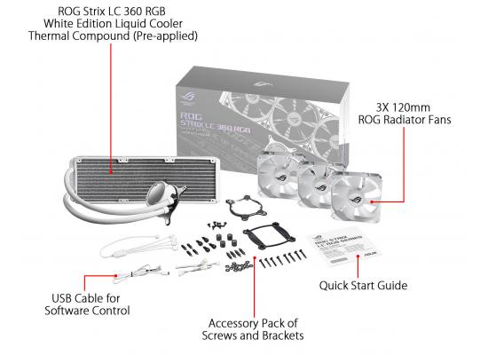 ASUS ROG STRIX LC 360mm RGB AIO CPU Water Cooler - White Edition