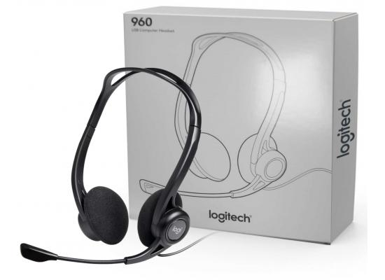Logitech 960 USB Noise-cancelling w/ Mute Button Stereo Headset