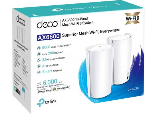 TP-LINK Deco AX90 AX6600 Tri-Band WiFi 6 Mesh System (2-Pack)