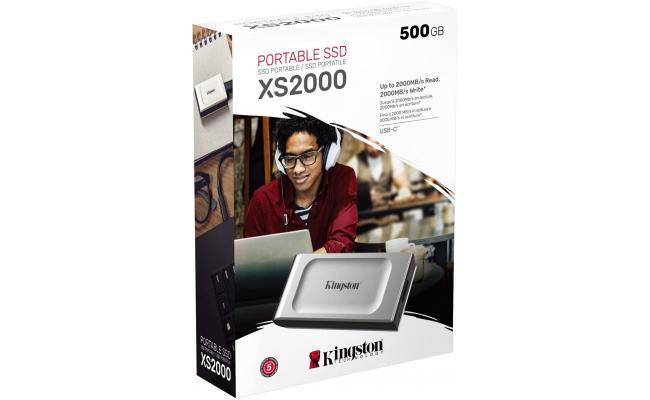 Kingston XS2000 500GB High Performance Pocket-Sized External SSD USB C
