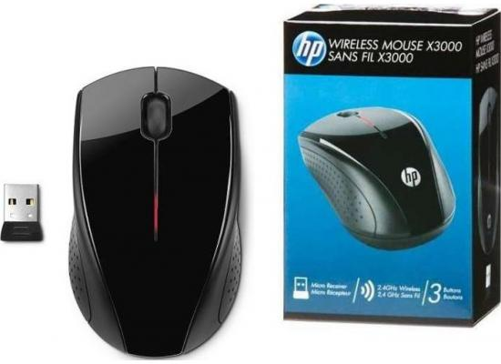 HP x3000 Wireless Mouse w/ USB Adapter , Black