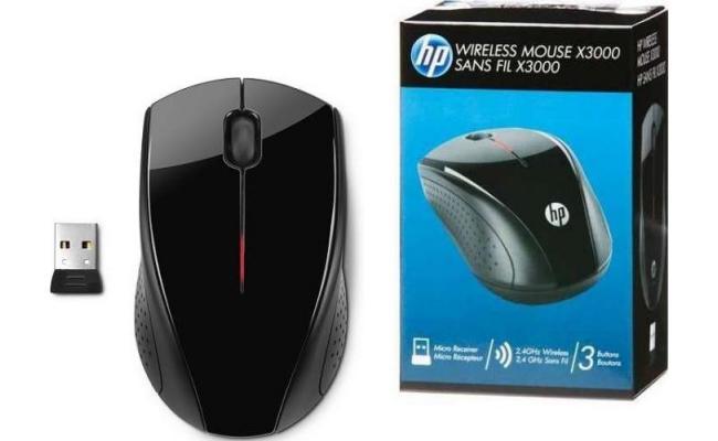 HP x3000 Wireless Mouse w/ USB Adapter , Black