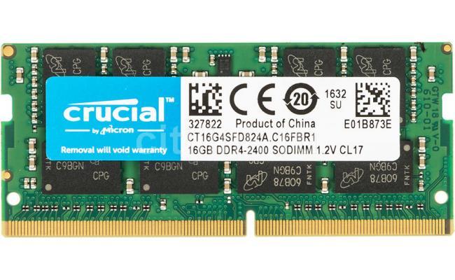 Crucial DDR4-2400 SODIMM 16GB Notebook Memory