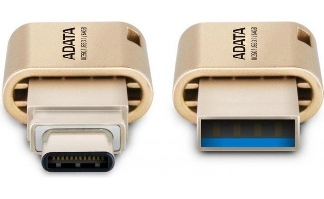 Adata UC350 32GB USB C / USB3.1 Gold Color Flash Drive