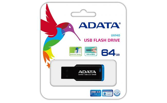 ADATA 64GB UV140 Bookmarked, Capless USB 3.0