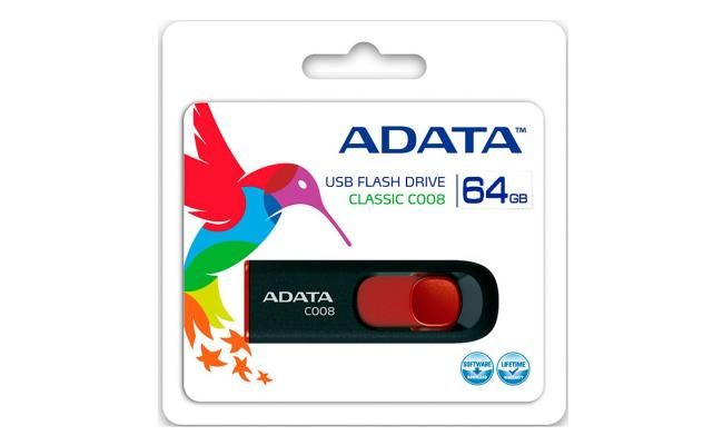 ADATA C008 64GB USB 2.0 Flash Memory , Black/ RED