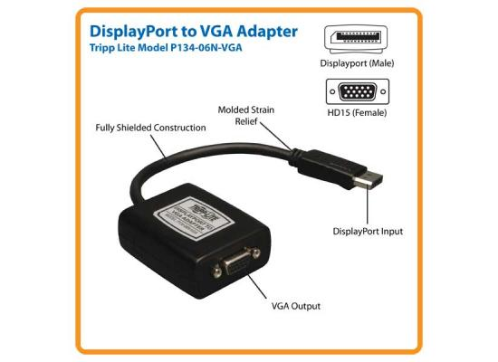 Tripp Lite P134-06N-VGA  Displayport To VGA (Black)