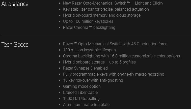 Razer Huntsman Chroma Gaming Keyboard